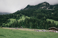 first switchback of the day<br /> <br /> Stage 5: Gstaad > Leukerbad (155km)<br /> 82nd Tour de Suisse 2018 (2.UWT)