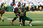 Baylor Bears cornerback Kalon Barnes (12) in action during the game between the Texas Tech Red Raiders and the Baylor Bears at the McLane Stadium in Waco, Texas.