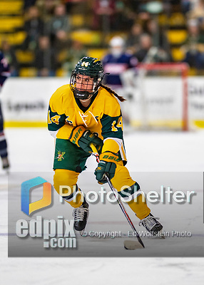 8 February 2020: University of Vermont Catamount Forward Ali O'Leary, a Senior from Reading, MA, in first period action against the University of Connecticut Huskies at Gutterson Fieldhouse in Burlington, Vermont. The Huskies defeated the Lady Cats 4-2 in the first game of their weekend Hockey East series. Mandatory Credit: Ed Wolfstein Photo *** RAW (NEF) Image File Available ***