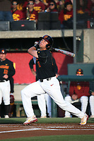 Lars Nootbaar (11) of the Southern California Trojans bats against the Arizona State Sun Devils during a game at at Dedeaux Field on March 24, 2017 in Los Angeles, California. Southern California defeated Arizona State, 5-4. (Larry Goren/Four Seam Images)