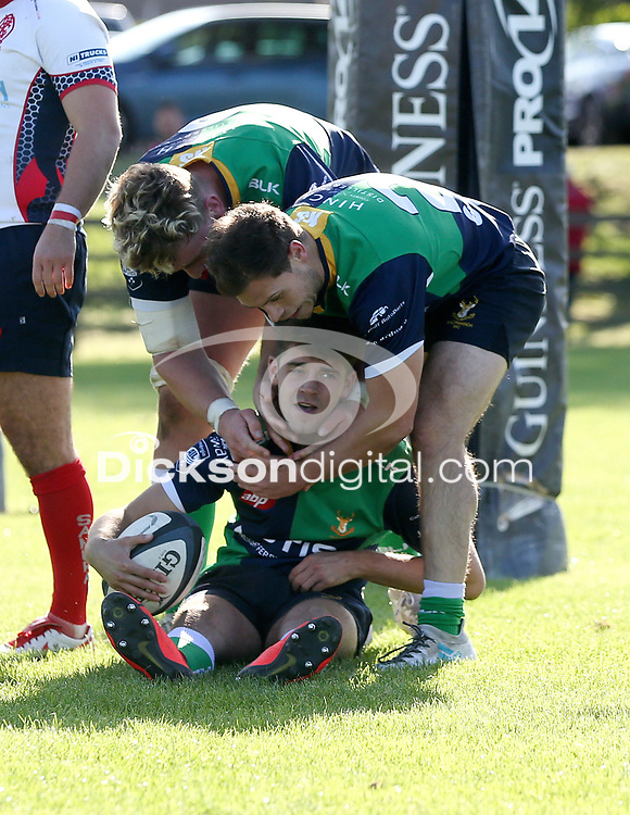 Saturday 26th September 2020 | Malone vs Ballynahinch<br /> <br /> Rhys O'Donnell is congratulated after he scored the fourth try for Ballynahinch during the Ulster Senior League fixture between Malone and Ballynahinch at Gibson Park, Belfast, Northern Ireland. Photo by John Dickson / Dicksondigital