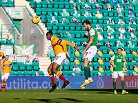 24th April 2021; Easter Road, Edinburgh, Scotland; Scottish Cup fourth round, Hibernian versus Motherwell; Christian Doidge of Hibernian wins the header and scores the opening goal in minute 52