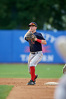 Lowell Spinners second baseman Grant Williams (11) throws to first base during a game against the Staten Island Yankees on August 22, 2018 at Richmond County Bank Ballpark in Staten Island, New York.  Staten Island defeated Lowell 10-4.  (Mike Janes/Four Seam Images)