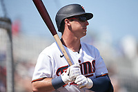 Minnesota Twins Brent Rooker (50) on deck during a Major League Spring Training game against the Pittsburgh Pirates on March 16, 2021 at Hammond Stadium in Fort Myers, Florida.  (Mike Janes/Four Seam Images)