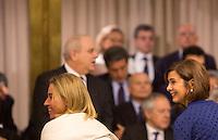 L'Alto rappresentante dell'Unione per gli affari esteri e la politica di sicurezza Federica Mogherini, a sinistra, e la Presidente della Camera dei Deputati Laura Boldrini  arrivano alla Conferenza degli Ambasciatori, alla Farnesina, Roma, 27 luglio 2015.<br /> High Representative of the European Union for Foreign Affairs and Security Policy Federica Mogherini, left, and Italy's Lower Chamber of Deputies' President Laura Boldrini arrive for the Conference of Italian Ambassadors, at the Foreign Ministry headquarters in Rome 27 July 2015.<br /> UPDATE IMAGES PRESS/Riccardo De Luca