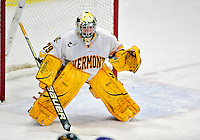 6 November 2009: University of Vermont Catamount goaltender Rob Madore, a Sophomore from Venetia, PA, in third period action against the University of Massachusetts River Hawks at Gutterson Fieldhouse in Burlington, Vermont. The Hockey East rivals battled to a 3-3 tie. Mandatory Credit: Ed Wolfstein Photo