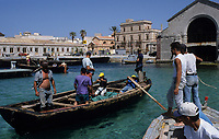 ITALY, Sicily, Egedian island Favignana, La Mattanza, traditional fishing of bluefin Tuna fish, rowing boats in front of Tonnara