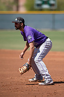 Colorado Rockies first baseman Jacob Bosiokovic (21) during an Extended Spring Training game against the Chicago Cubs at Sloan Park on April 17, 2018 in Mesa, Arizona. (Zachary Lucy/Four Seam Images)