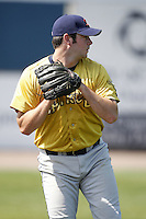 June 24, 2009:  Pitcher Phillip Irwin of the State College Spikes warms up before a game at Eastwood Field in Niles, OH.  The Spikes are the NY-Penn League Short-Season A affiliate of the Pittsburgh Pirates.  Photo by:  Mike Janes/Four Seam Images