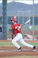Blake Butler (16) of the AZL Reds bats during a game against the AZL Brewers at Cincinnati Reds Spring Training Complex on July 5, 2015 in Goodyear, Arizona. Reds defeated the Brewers, 9-4. (Larry Goren/Four Seam Images)