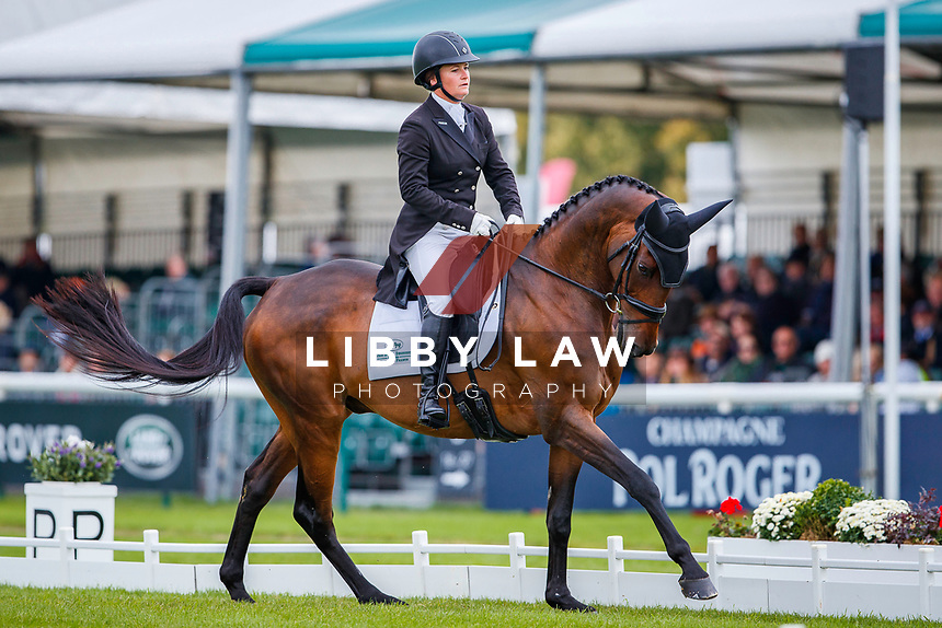 USA-Hannah-Sue Burnett rides Harbour Pilot during the second day of Dressage. Interim-=5th. 2019 GBR-Land Rover Burghley Horse Trials. Friday 6 September. Copyright Photo: Libby Law Photography