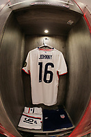 GUADALAJARA, MEXICO - MARCH 24: The locker of Johnny Cardoso #16 of the United States before a game between Mexico and USMNT U-23 at Estadio Jalisco on March 24, 2021 in Guadalajara, Mexico.
