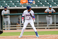 Tennessee Smokies second baseman Christopher Morel (11) at bat against the Montgomery Biscuits on May 9, 2021, at Smokies Stadium in Kodak, Tennessee. (Danny Parker/Four Seam Images)
