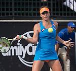 Elina Svitolina (UKR) loses to Belinda Bencic (SUI) 6-7, 6-4, 6-1 at the Family Circle Cup in Charleston, South Carolina on April 3, 2014.