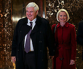 Former Speaker of the United States House of Representatives Newt Gingrich (Republican of Georgia) accompanied by his wife Callista, speaks to journalists following a meeting with US President-elect Donald Trump, in the Trump Tower, November 21, 2016, in New York, New York.<br /> Credit: Aude Guerrucci / Pool via CNP