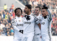 Calcio, Serie A: Sassuolo vs Juventus. Reggio Emilia, Mapei Stadium, 29 gennaio 2017. <br /> Juventus' Sami Khedira, second from left, celebrates with teammates Juan Cuadrado, left, Miralem Pjanic, second from right, and Paulo Dybala, after scoring during the Italian Serie A football match between Sassuolo and Juventus at Reggio Emilia's Mapei stadium, 29 January 2017.<br /> UPDATE IMAGES PRESS/Isabella Bonotto