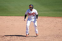 Baltimore Orioles Taylor Davis (37) leads off during a Major League Spring Training game against the Pittsburgh Pirates on February 28, 2021 at Ed Smith Stadium in Sarasota, Florida.  (Mike Janes/Four Seam Images)