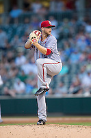 Syracuse Chiefs starting pitcher Austin Voth (31) in action against the Charlotte Knights at BB&T BallPark on June 1, 2016 in Charlotte, North Carolina.  The Knights defeated the Chiefs 5-3.  (Brian Westerholt/Four Seam Images)