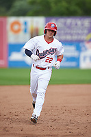 Auburn Doubledays shortstop Paul Panaccione (22) runs the bases after hitting a solo home run in the bottom of the third inning during the second game of a doubleheader against the Mahoning Valley Scrappers on July 2, 2017 at Falcon Park in Auburn, New York.  Mahoning Valley defeated Auburn 3-2.  (Mike Janes/Four Seam Images)