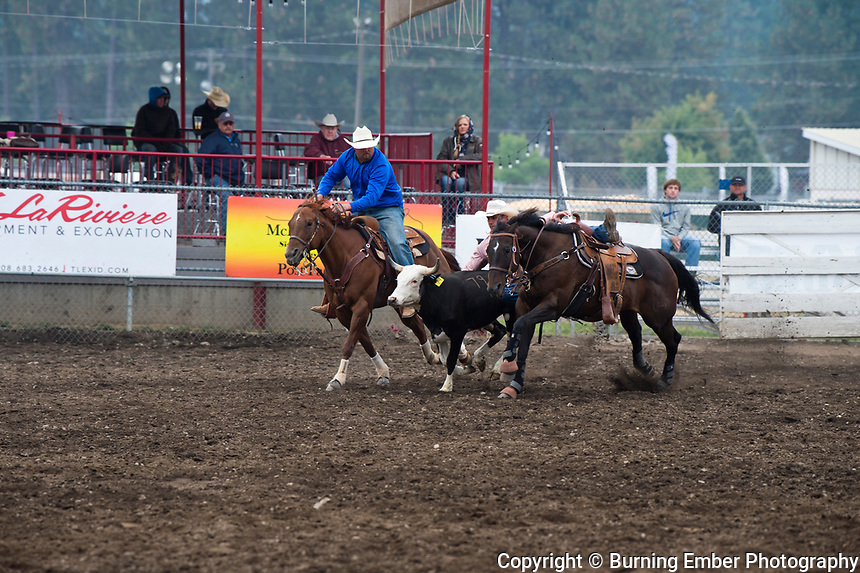 Brendan Laye in the Steer Wrestling event at the Gem State Stampede August 26th, 2018 slack in Couer D'Alene ID.  Photo by Josh Homer/Burning Ember Photography.  Photo credit must be given on all uses.