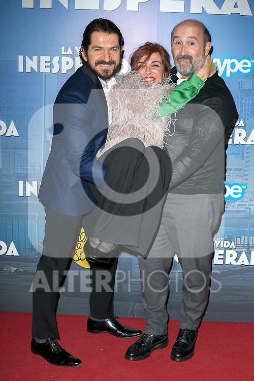 "The director of the movie ""La vida Inesperada Jorge Torregrosa and the actors Javier Cámara and Gloria Munoz  attend the Premiere of the movie ""La vida inesperada"" at the Callao Cinema in Madrid, Spain. April 25, 2014. (ALTERPHOTOS/Carlos Dafonte)"