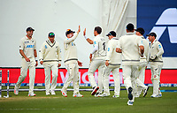 The Black Caps congratulate Trent Boult for bowling Jermaine Blackwood during day three of the second International Test Cricket match between the New Zealand Black Caps and West Indies at the Basin Reserve in Wellington, New Zealand on Sunday, 13 December 2020. Photo: Dave Lintott / lintottphoto.co.nz