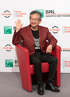 "Il fumettista e scrittore giapponese Go Nagai posa durante un photocall per la presentazione del film ""Mazinga Z Infinity"" alla Festa del Cinema di Roma , 27 0ttobre 2017.<br />