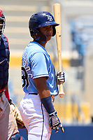 FCL Rays outfielder Daiwer Castellanos (89) bats during a game against the FCL Twins on July 20, 2021 at Charlotte Sports Park in Port Charlotte, Florida.  (Mike Janes/Four Seam Images)