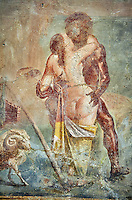 Polyphemus caressing Galatea, a Roman erotic fresco painting from Pompeii, 50-79 AD , from the Casa dei Capitelli colorati, inv no 27687 , Secret Museum or Secret Cabinet, Naples National Archaeological Museum