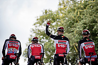 Philippe Gilbert (BEL/Lotto-Soudal) salutes the crowd at the start<br /> <br /> Stage 2 from Perros-Guirec to Mûr-de-Bretagne, Guerlédan (184km)<br /> 108th Tour de France 2021 (2.UWT)<br /> <br /> ©kramon