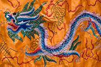 THIS IMAGE IS AVAILABLE EXCLUSIVELY FROM GETTY IMAGES.....Please search for image # 75461140 on www.gettyimages.com.....Traditional Chinese Dragon Banner, Displayed at a celebration outside a Taoist Temple in New York City's Chinatown that serves immigrants from the Chinese province of Fujian, New York City, New York State, USA