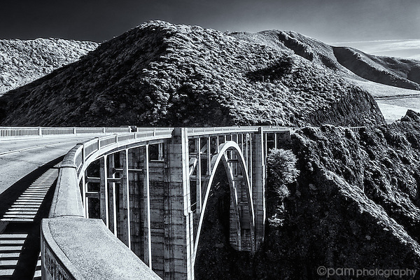Black and white infrared image of Bixby Bridge near Big Sur, CA