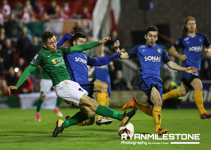 2017 SSE Airtricity League Premier Division,<br /> Cork City vs Bray Wanderers,<br /> Friday 27th October 2017,<br /> Turners Cross, Cork.<br /> Connor Ellis has a shot on goal.<br /> Photo By: Michael P Ryan