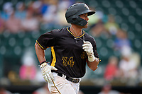 Bradenton Marauders Cal Mitchell (34) runs to first base during a Florida State League game against the Palm Beach Cardinals on May 10, 2019 at LECOM Park in Bradenton, Florida.  Bradenton defeated Palm Beach 5-1.  (Mike Janes/Four Seam Images)