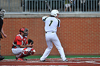 Right fielder T.J. Nichting (1) of the Charlotte 49ers bats in a game against the Fairfield Stags on Saturday, March 12, 2016, at Hayes Stadium in Charlotte, North Carolina. The Stags catcher is Mitch Williams and the home plate umpire is Brad Newton. (Tom Priddy/Four Seam Images)
