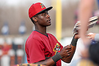 Quad Cities River Bandits outfielder Daz Cameron (10) signs autographs for fans prior to a Midwest League game against the Wisconsin Timber Rattlers on April 20, 2016 at Fox Cities Stadium in Appleton, Wisconsin.  Quad Cities defeated Wisconsin 5-2. (Brad Krause/Four Seam Images)