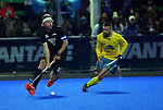 NZ's Blair Tarrant looks for support during the Sentinel Homes Trans Tasman Series hockey match between the New Zealand Black Sticks Men and the Australian Kookaburras at Massey University Hockey Turf in Palmerston North, New Zealand on Tuesday, 1 June 2021. Photo: Dave Lintott / lintottphoto.co.nz