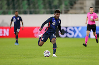 ST. GALLEN, SWITZERLAND - MAY 30: Yunus Musah #10 of the United States turns and moves with the ball during a game between Switzerland and USMNT at Kybunpark on May 30, 2021 in St. Gallen, Switzerland.