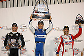 Takuma Sato, Rahal Letterman Lanigan Racing Honda, Ed Carpenter, Ed Carpenter Racing Chevrolet,Tony Kanaan, A.J. Foyt Enterprises Chevrolet celebrate on the podium