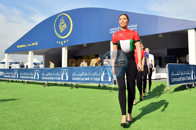 The leaders jerseys on parade at sign on before the start of Stage 2 The  Ras Al Khaimah Stage of the Dubai Tour 2018 the Dubai Tour's 5th edition, running 190km from Skydive Dubai to Ras Al Khaimah, Dubai, United Arab Emirates. 7th February 2018.<br /> Picture: LaPresse/Massimo Paolone | Cyclefile<br /> <br /> <br /> All photos usage must carry mandatory copyright credit (© Cyclefile | LaPresse/Massimo Paolone)