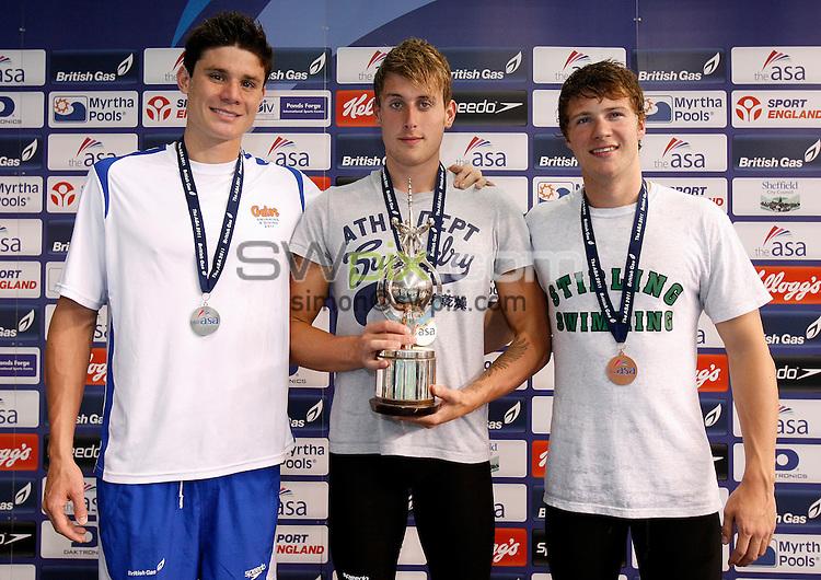PICTURE BY VAUGHN RIDLEY/SWPIX.COM...Swimming - ASA National Swimming Championships 2011- Ponds Forge, Sheffield, England - 16/06/11... Men's 100m Backstroke Final - (L-R) - Silver - Marco Loughran, Gold - Chris Walker-Hebborn, Bronze - Ryan Bennett.