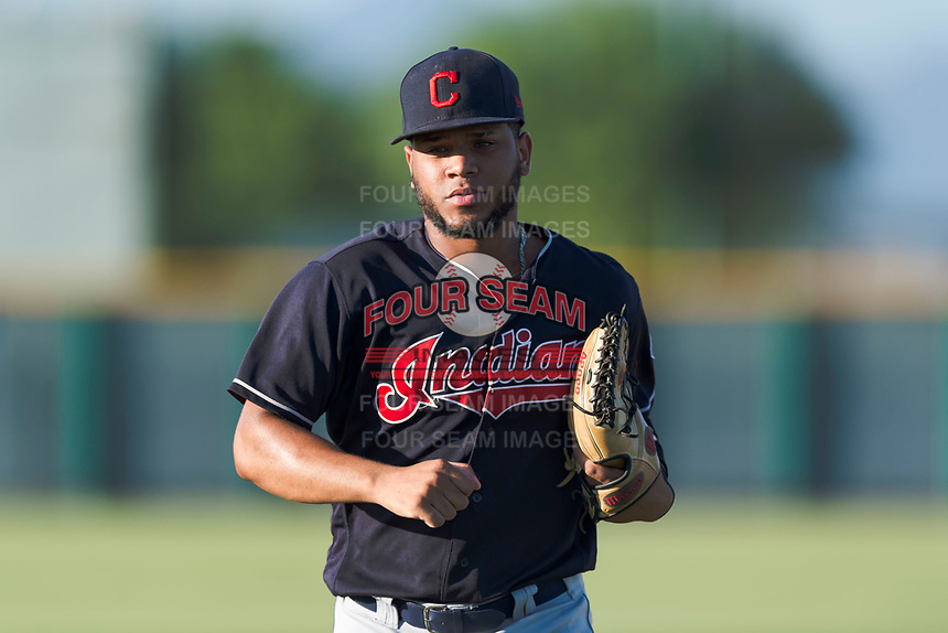 AZL Indians 1 left fielder Cristopher Cespedes (38) jogs off the field between innings of an Arizona League game against the AZL Cubs 1 at Sloan Park on August 27, 2018 in Mesa, Arizona. The AZL Cubs 1 defeated the AZL Indians 1 by a score of 3-2. (Zachary Lucy/Four Seam Images)