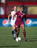 Ines Jaurena (2) of Florida State brings the ball upfield during the game at Ludwing Field in College Park, MD.  Florida State defeated Maryland, 1-0.
