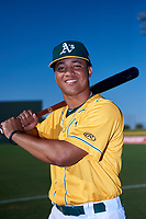 AZL Athletics Gold Christopher Quintin (2) poses for a photo before an Arizona League game against the AZL Rangers on July 15, 2019 at Hohokam Stadium in Mesa, Arizona. The AZL Athletics Gold defeated the AZL Rangers 9-8 in 11 innings. (Zachary Lucy/Four Seam Images)