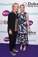 LONDON, UK. June 28, 2019: Martina Navratilova & Chris Evert  arriving for the WTA Summer Party 2019 at the Jumeirah Carlton Tower Hotel, London.<br /> Picture: Steve Vas/Featureflash
