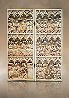 Medieval Gothic ivory diptych with scenes from the Passion made in Paris in the second quarter of the 14th century.  inv 10006, The Louvre Museum, Paris.
