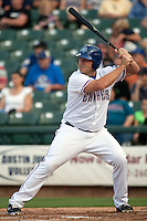 Round Rock Express designated hitter Brad Nelson #30 at bat during the Pacific Coast League baseball game against the New Orleans Zephyrs on April 30, 2012 at The Dell Diamond in Round Rock, Texas. The Zephyrs defeated the Express 5-3. (Andrew Woolley / Four Seam Images)