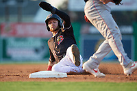 Batavia Muckdogs J.D. Orr (22) slides into third base during a NY-Penn League game against the Lowell Spinners on July 10, 2019 at Dwyer Stadium in Batavia, New York.  Batavia defeated Lowell 8-6.  (Mike Janes/Four Seam Images)