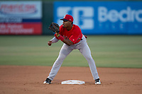 AZL Angels second baseman Jose Verrier (4) during an Arizona League game against the AZL Athletics at Tempe Diablo Stadium on June 26, 2018 in Tempe, Arizona. The AZL Athletics defeated the AZL Angels 7-1. (Zachary Lucy/Four Seam Images)
