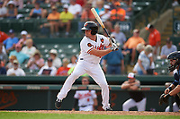 Baltimore Orioles right fielder Jaycob Brugman (85) at bat during a Grapefruit League Spring Training game against the Tampa Bay Rays on March 1, 2019 at Ed Smith Stadium in Sarasota, Florida.  Rays defeated the Orioles 10-5.  (Mike Janes/Four Seam Images)